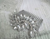 Demi-crystal rhinestone comb-made to order