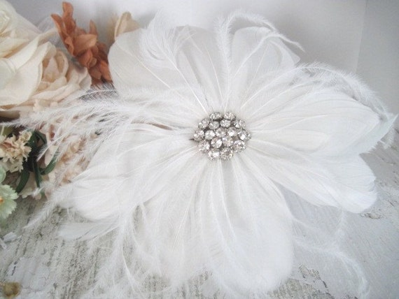 Lola-bridal feather hairpiece-custom made to order