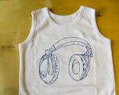 DJ baby body suit, Romper suit baby vest, Headphones, DJ music