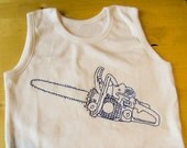 Chainsaw Baby vest, romper suit Chainsaw freemotion embroidered choice of thread
