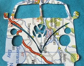 VW Van toppers, upcycled map, paper embellishments, card making supplies, die cut, camper microbus