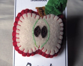 Red Apple Brooch, hand embroidered felt, embroidery thread