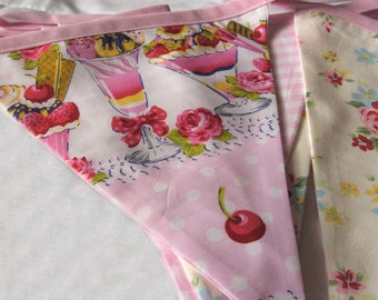 Ice Cream Sundae bunting, Fabric Bunting Banner floral style gingham baby pink bias binding, for house, garden, party and festivities