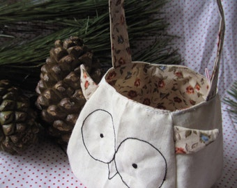 Owl Bag printed cotton lining and ear feathers, custom gift bag, freemotion sewn features purse, animal bag