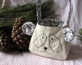 Panda Bear Bag, custom made gift bag printed cotton lining and ears, freemotion sewn features, purse, animal bag