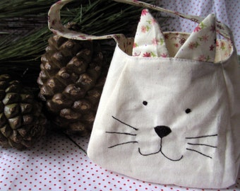 Kitty Cat Bag, printed cotton lining, custom bag, freemotion sewn features, purse, kitty cat tote, gift bag, animal bag, animal gift bag