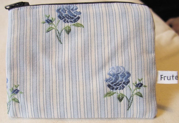 Coin Purse, Blue Roses, cottage chic fabric Gift Card Holder Floral Wallet