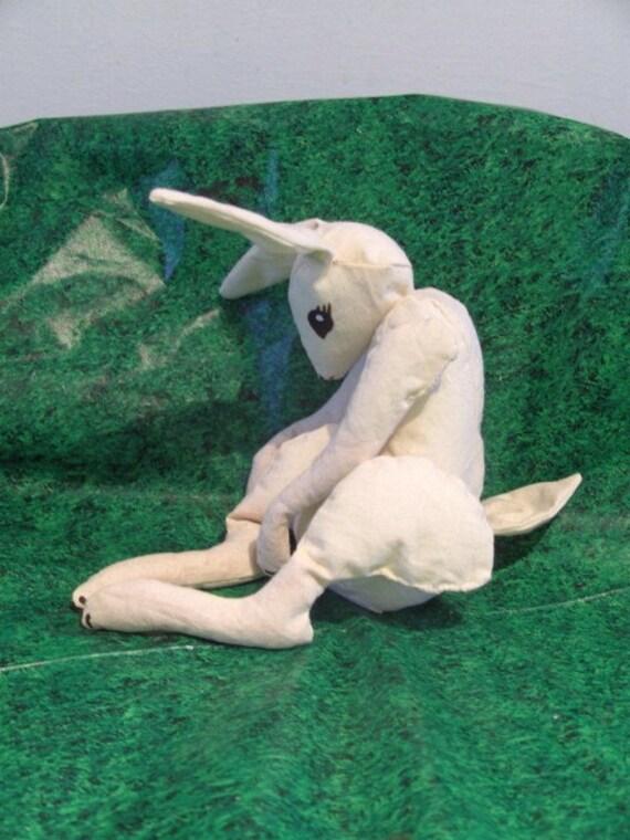 Bunny Rabbit softie, Floppy Calico Bunny softie. Featured by Regretsy