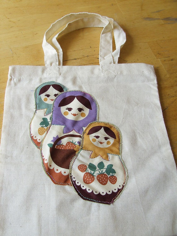 Tote Bag Matryoshka, Russian Doll Calico Tote Babushka applique