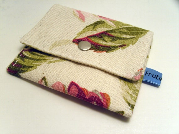 Coin Purse or Gift Card Holder, Pink and Cream Floral Wallet