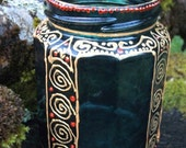 Gold and Green Celtic Spirals Candle Jar