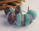 Handmade Lampwork Beads - Etched Turquoise & Purple Glass Bead Set