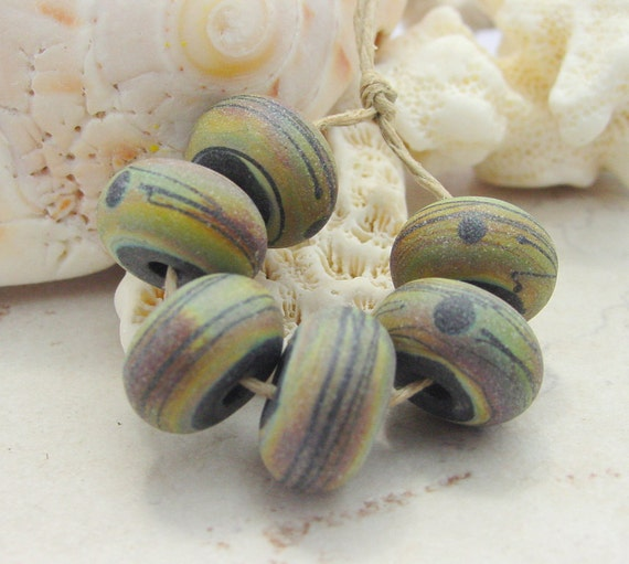 Lampwork Beads - Handmade Glass Beads - Etched Raku