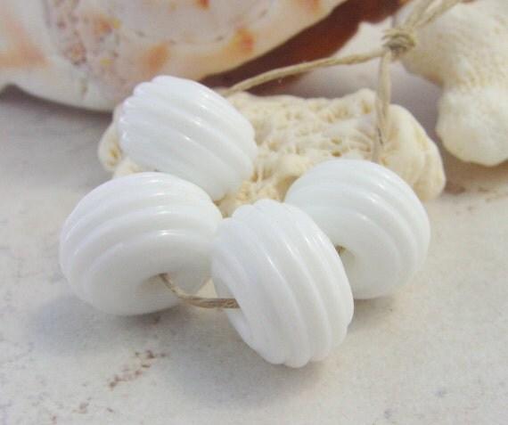 SALE Lampwork Beads - Handmade Glass Beads - White