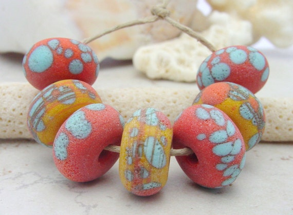 Lampwork Beads - Handmade Glass Beads - Etched Orange Yellow & Turquoise