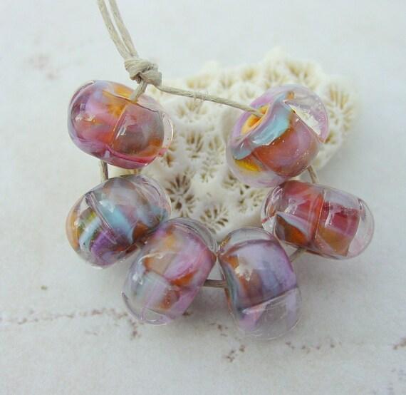 Lampwork Beads - Handmade Glass Beads - Orange & Purple