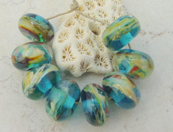 Lampwork Beads - Handmade Glass Beads - Aqua & Tan