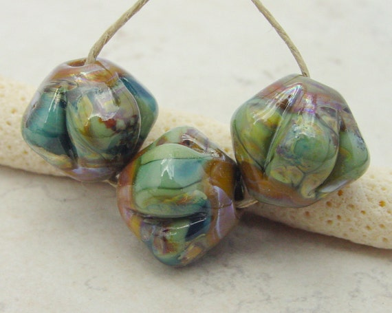 Lampwork Beads - Handmade Glass Beads - Green & Brown