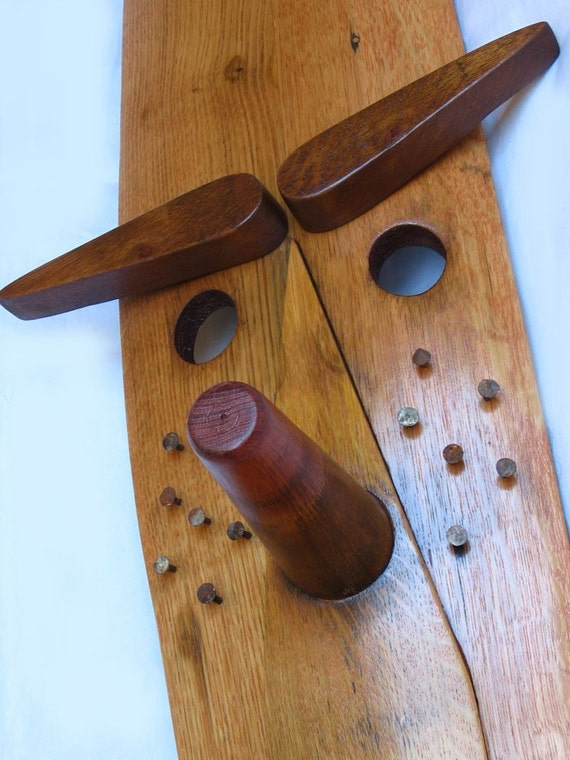 READY TO SHIP Pinot Kio, recycled oak wine barrel stave mask, wall ornamental piece, one of a kind interior home decor