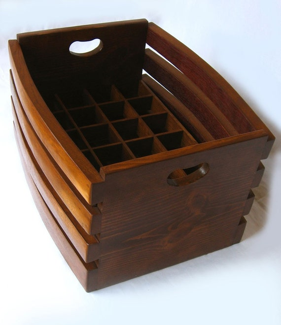 The Barrel Crate, recycled wine barrel staves beer or wine crate, carrier. Mahogany or Golden oak color