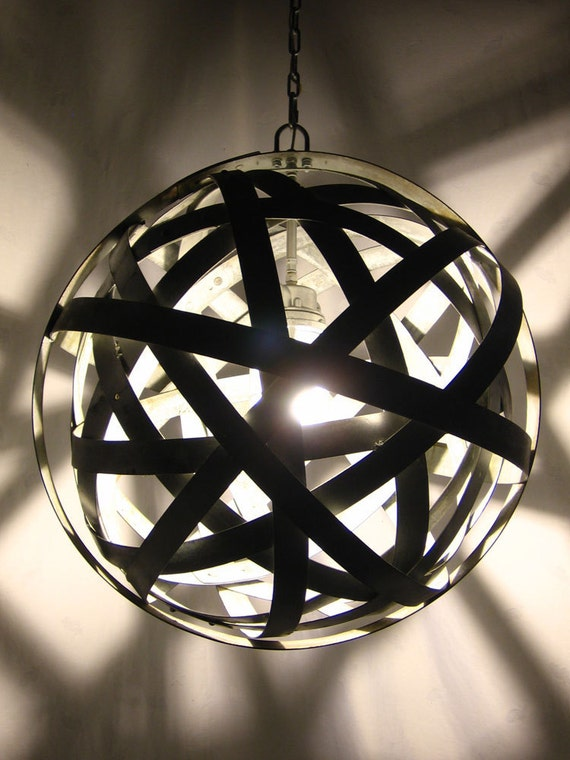 Orbits, urban chandelier, recycled wine barrel metal hoops, galvanized steel bands, ceiling light fixture