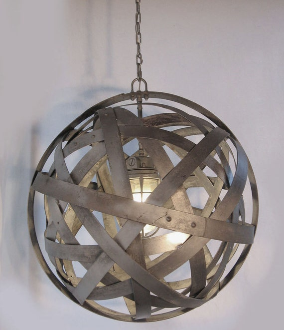 galvanized lighting. delighful lighting orbits urban chandelier recycled wine barrel metal hoops galvanized  steel bands ceiling light fixture on galvanized lighting