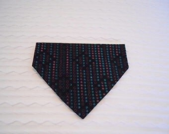 Dog Bandana in Turquoise & Pink and Black in SMALL Dog Collar Style READY to SHIP
