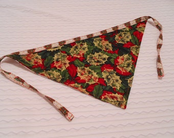 Dog Bandana with Leaves & Christmas Trees in LARGE Tie Style Ready to Ship