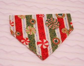 Dog Bandana with Stripes & Peppermint Candy Sizes XS to Large in Dog Collar Style