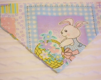 SMALL Dog Bandana with Easter Bunny in Dog Collar Style Ready to Ship