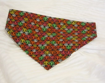 Custom Dog Collar Bandana with Neon Peace Signs Sizes XS to XL