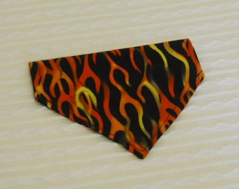 Dog Bandana in Neon Flames in Dog Collar Style Sizes XS to L