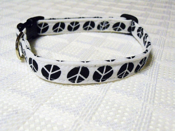 Custom Dog Collar with Black Peace Signs Sizes S to XL