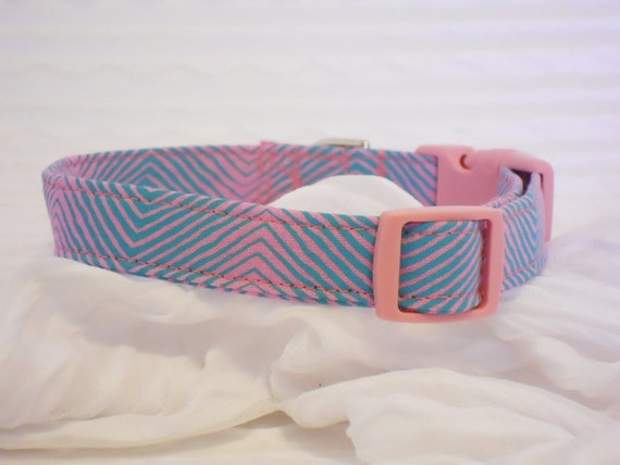 Chevron Custom Dog Collar in Hot Pink & Turquoise Sizes XS to LARGE