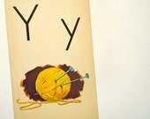 Y is for YARN - Vintage Large Flash Card