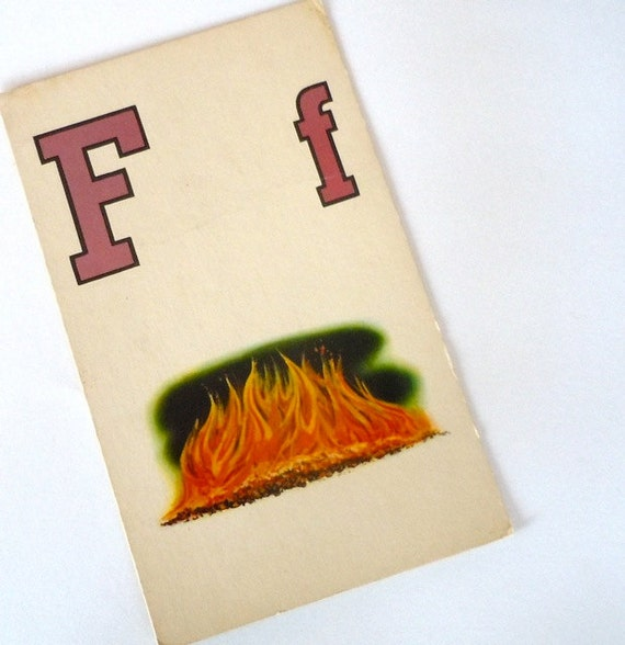 F is for Fire - Vintage Large Flash Card