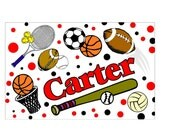 Childrens Personalized Placemats - sports