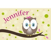 Childrens personalized placemat - Owl