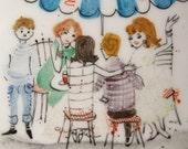 Vintage Porcelain Enamelware ESPRESSO MARTINI Dish