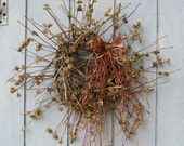 SALE - Fall Wreath - Primitive Wreath - Twig Wreath - Rose of Sharon - Sweet Autumn Simplicity