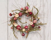 Reserved - Spring Wreath - Mulberry Twigs and Strawflowers FIRST BLUSH of SPRING