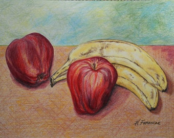 Apples and Bananas - 9 x12 Original Colored Pencil Drawing