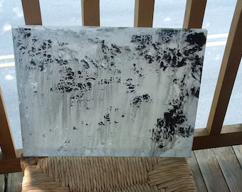 Morning Rain.. ... .16 x 20 Original Acrylic on Canvas - Black White Grey Abstract