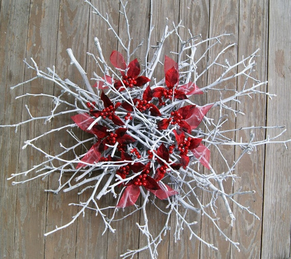 Winter Wreath PEAR BERRY Natural Twig Wreath Fireplace Mantel Wreath