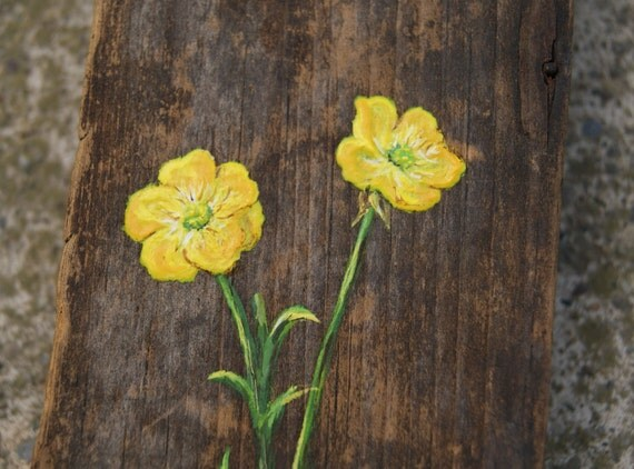 Yellow Buttercup Flower Painting Antique Wood Original