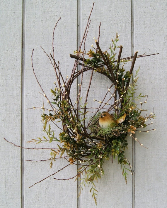 Spring Wreath Twig Wreath Rustic Bird Nest By Hollyferencze