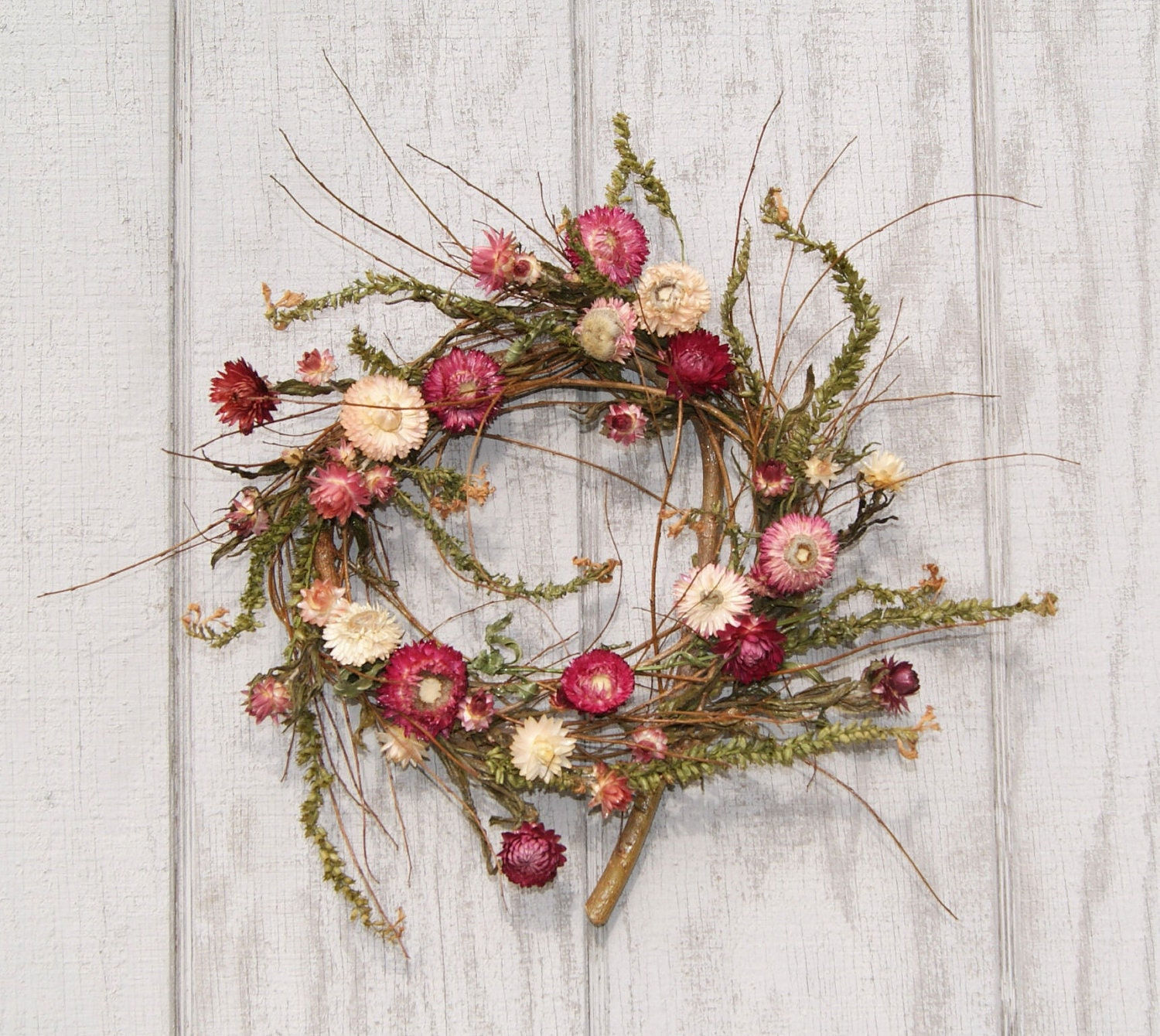 Reserved Spring Wreath Mulberry Twigs and Strawflowers
