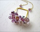 Dionysis Petite Cluster Necklace - amethyst cluster necklace, purple cluster necklace, one of a kind amethyst necklace, handmade CN07GSP
