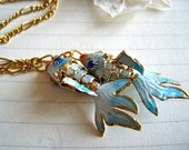 catch of the day necklace - cloisonne koi fish necklace, two fish necklace, pisces necklace, gemini necklace, gold, chinese new year
