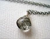Black Sea Necklace - tourmalated quartz necklace, oxidized sterling silver, rutilated quartz necklace, black tourmalated quartz, OS13